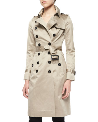 Sateen Double-Breasted Trenchcoat, Stone