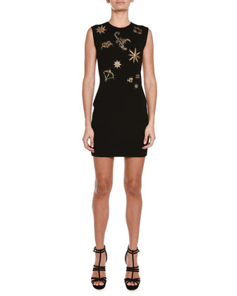 Zodiac-Beaded Knit Sheath Dress