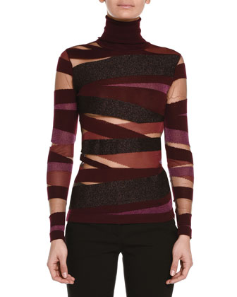 Sheer-Inset Mixed Bandage Knit Top