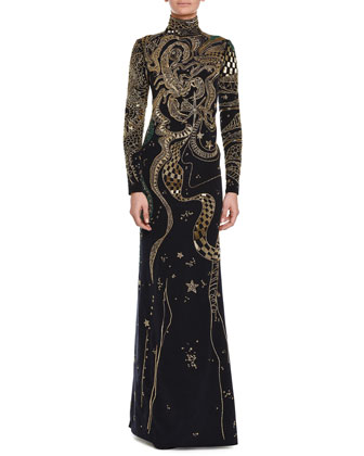 Long-Sleeve Zodiac Beaded Gown