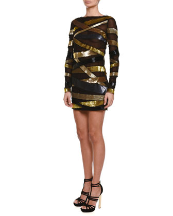 Sequined Metallic Bandage Mini Dress