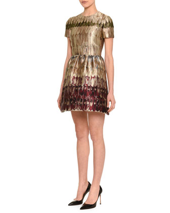 Angel Wings Brocade Fit-And-Flare Dress