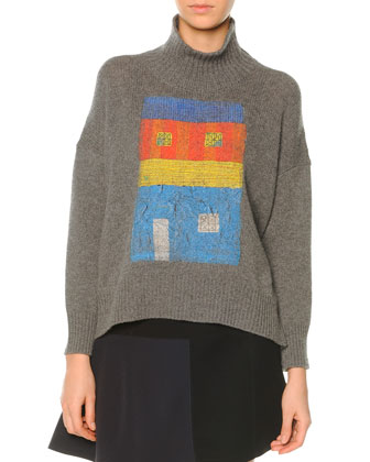 Cashmere-Blend Turtleneck House-Print Sweater