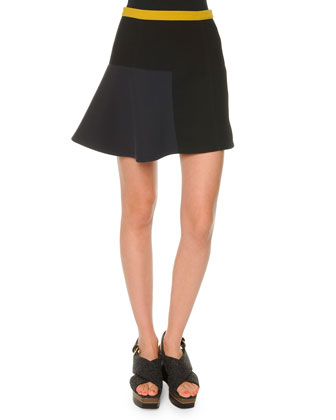 Colorblock Flutter-Hem Skirt, Coal
