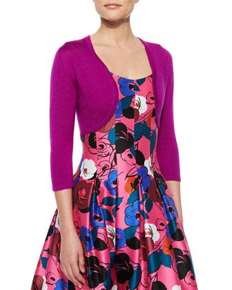 3/4-Sleeve Cashmere/Silk Bolero & Floral-Print A-Line Dress