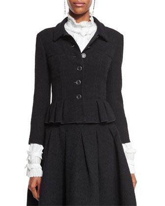 Button-Front Peplum Jacket, Black