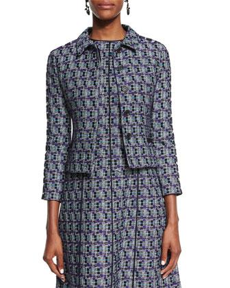 Multi-Print Tweed Jacket, Bright Navy