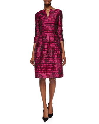 Metallic Rose-Print 3/4-Sleeve Dress, Bordeaux