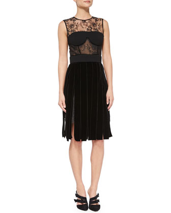 Lace & Velvet Bustier Cocktail Dress, Black