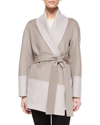 Double-Faced Wool/Cashmere Wrap Topper Jacket, Light Pewter