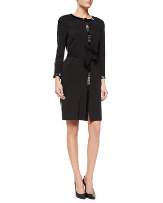 Bugle Beaded-Detail Coat Dress, Black