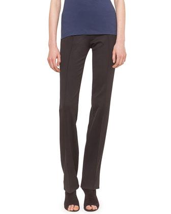 Straight-Leg Side-Zip Pants, Black