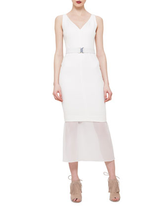 Belted Chiffon-Trimmed Sheath Dress