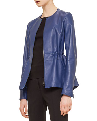 Napa Leather Peplum Jacket, Ink