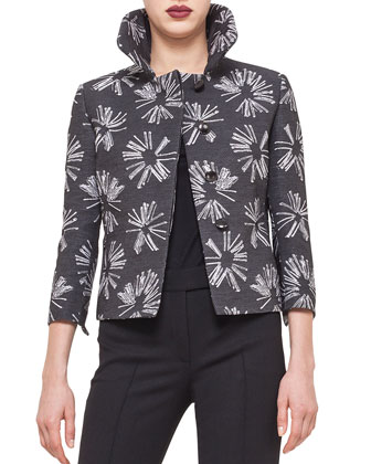 Abstract Floral Boxy Hidden Button Jacket
