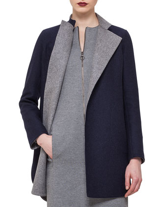Reversible Wool-Blend Snap Coat