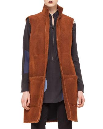 Long Reversible Shearling Fur Gilet, Nougate