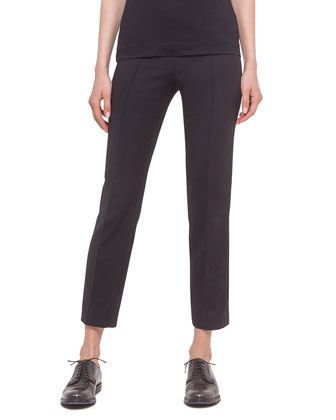 Franca Cropped Knit Pants, Black