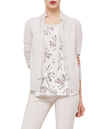 Long-Sleeve Hidden-Button Cardigan, Elements Abstract Floral-Print Top & ...
