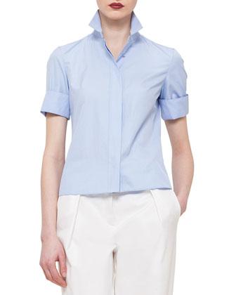 Plisse-Back Short-Sleeve Button Blouse