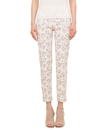 Franca Ankle-Length Printed Pants, Canvas