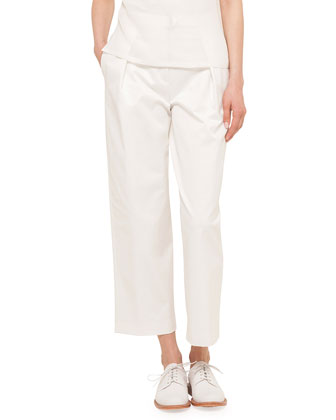 Plisse-Back Short-Sleeve Button Blouse & Pleated Wide-Leg Culotte Pants