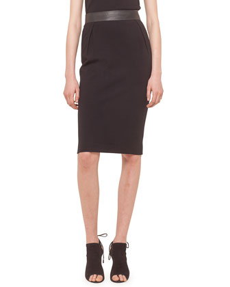 High-Waist Midi Skirt, Black