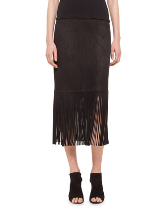 Long Fringe Suede Pencil Skirt, Black