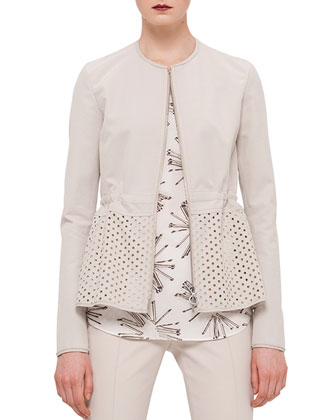 Eyelet Peplum Zip Jacket, Elements Abstract Floral-Print Top & Franca ...