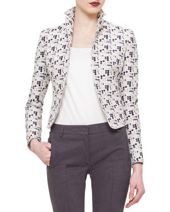 Cropped Dot-Print Jacket, Elements Abstract Floral-Print Top & Fabia ...