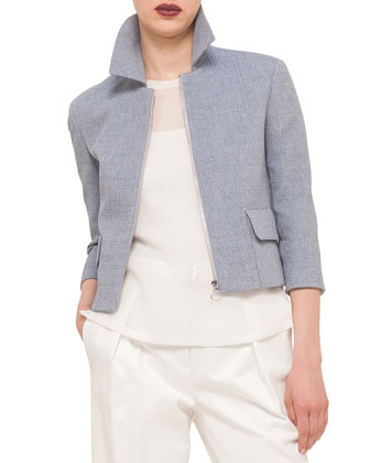 Invert-Back-Pleat Boxy Jacket, Bleached Denim