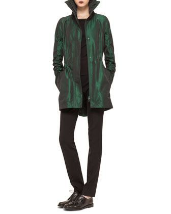 Hooded Drawstring Techno Long Parka, Scoop-Back Jersey Top & Mara Skinny ...