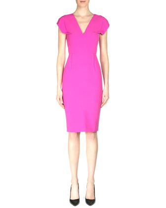 Afyon Cap-Sleeve Crepe Sheath Dress