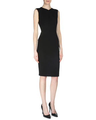 Sesia Wool Crepe Sheath Dress, Black