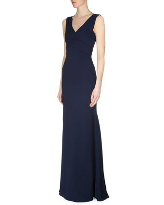 Althorp X-Front Crepe Gown, Navy
