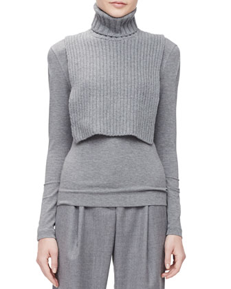 Boxy Wool-Blend Snap Jacket, Chain-Knit Turtleneck Collar Dickey, Gathered ...