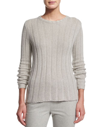 Lux Ribbed Cashmere Sweater, Light Gray Melange