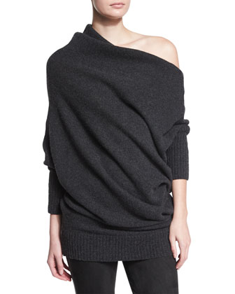 Off-The-Shoulder Cashmere Sweater & Suede Paneled Skinny Pants