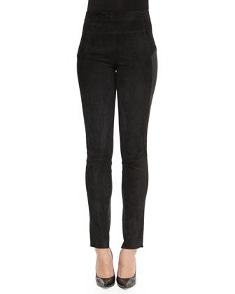 Suede Paneled Skinny Pants