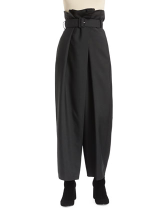 Paperbag-Waist Wide-Leg Pants