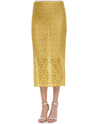 Allover Lace Pencil Skirt, Yellow Pollen