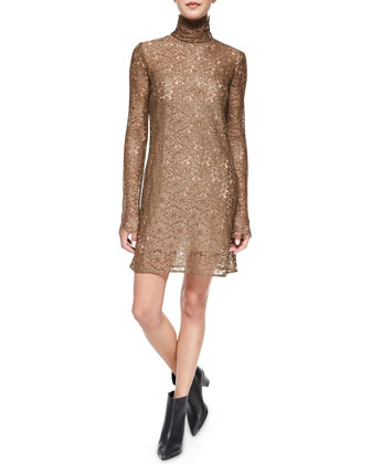 Long-Sleeve Lace Turtleneck Dress, Brown