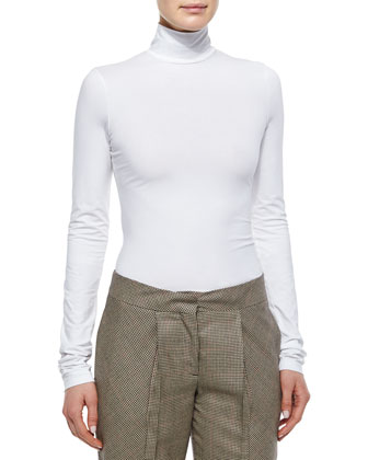 Ribbed Cape Sweater, Long-Sleeve Layering Top & Houndstooth Cropped Pants