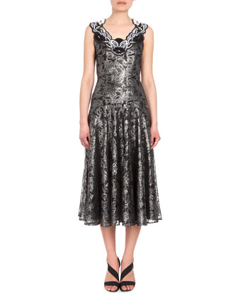 Sleeveless Embellished-Neck Lace Dress, Silver