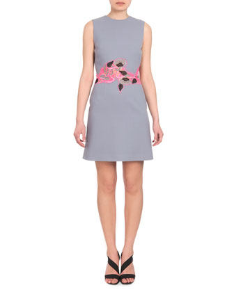 Sleeveless Lace-Waist Dress, Gray/Pink