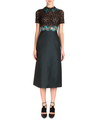 Short-Sleeve Combo Dress with Lace Applique, Black/Teal