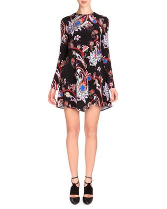 Long-Sleeve Jewel-Neck Paisley Dress, Black Multi