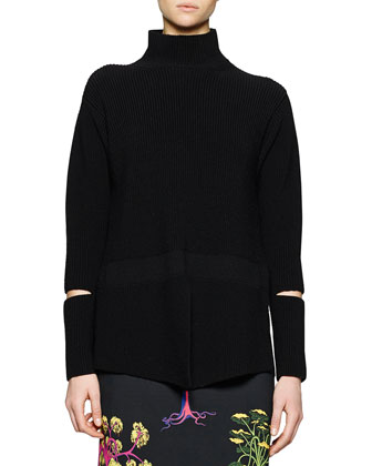Open-Wrist Ribbed Turtleneck Sweater, Black