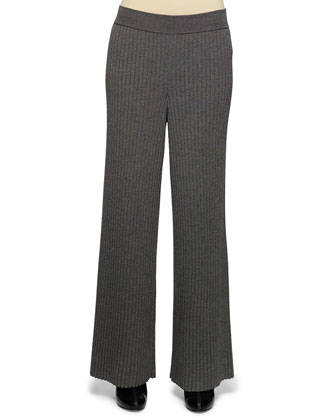 Wide-Leg Ribbed Knit Pants