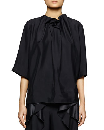 Ruffle-Neck Satin Top